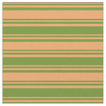 [ Thumbnail: Brown and Green Lined Pattern Fabric ]