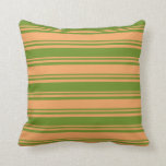 [ Thumbnail: Brown and Green Lined Pattern Throw Pillow ]