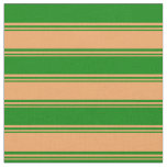 [ Thumbnail: Brown and Green Lined/Striped Pattern Fabric ]