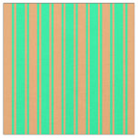 [ Thumbnail: Brown and Green Lines/Stripes Pattern Fabric ]