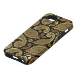 Brown And Green Paisley Pattern Black Background iPhone 5 Cover