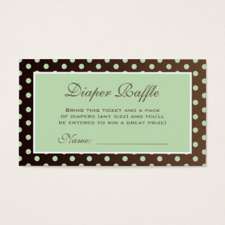 Brown and Green Polka Dot Diaper Raffle Ticket