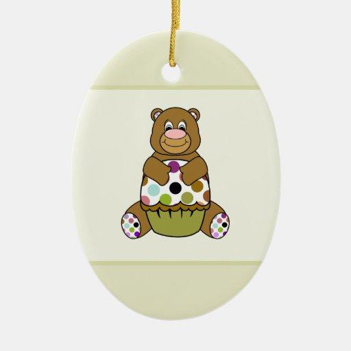 Brown And Green Polkadot Bear Christmas Ornament