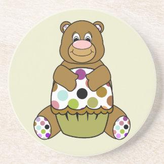 Brown And Green Polkadot Bear Drink Coasters