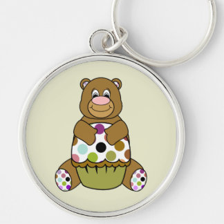 Brown And Green Polkadot Bear Silver-Colored Round Keychain