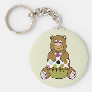Brown And Green Polkadot Bear Basic Round Button Keychain