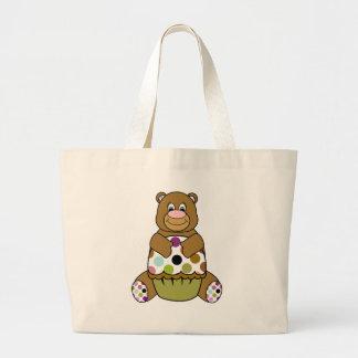 Brown And Green Polkadot Bear Large Tote Bag