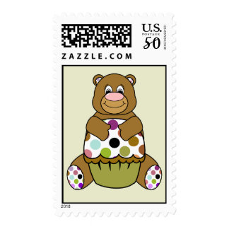 Brown And Green Polkadot Bear Postage