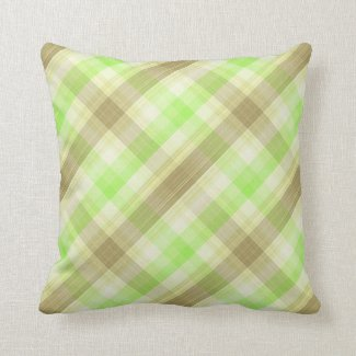 Brown and Green Reversible Plaid Throw Pillow