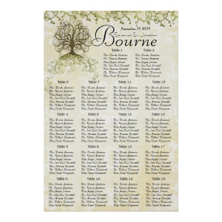 Brown and Green Swirl Tree Reception Seating Chart