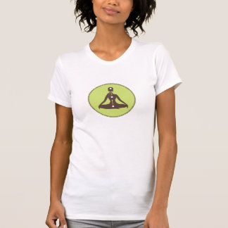 Brown And Green Yoga Pose Silhouette 5 T-Shirt