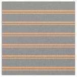 [ Thumbnail: Brown and Grey Colored Pattern of Stripes Fabric ]