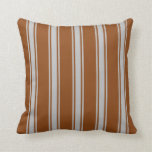 [ Thumbnail: Brown and Grey Pattern Throw Pillow ]