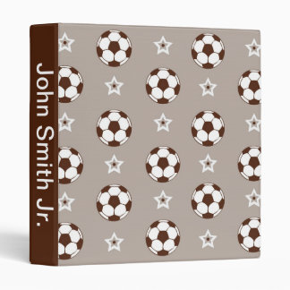 Brown and Grey Soccer Ball 3 Ring Binder