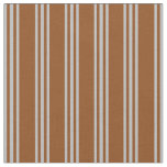 [ Thumbnail: Brown and Grey Striped/Lined Pattern Fabric ]
