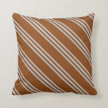 [ Thumbnail: Brown and Grey Striped/Lined Pattern Throw Pillow ]