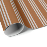 [ Thumbnail: Brown and Grey Striped/Lined Pattern Wrapping Paper ]