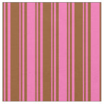 [ Thumbnail: Brown and Hot Pink Colored Striped Pattern Fabric ]