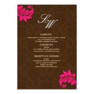 Brown and Hot Pink Damask Wedding Enclosure Card