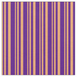 [ Thumbnail: Brown and Indigo Colored Pattern of Stripes Fabric ]
