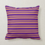 [ Thumbnail: Brown and Indigo Colored Pattern of Stripes Pillow ]