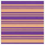 [ Thumbnail: Brown and Indigo Pattern of Stripes Fabric ]