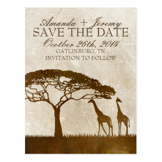 Brown and Ivory African Giraffe Save The Date Postcard