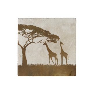 Brown and Ivory African Giraffe Wedding Stone Magnet