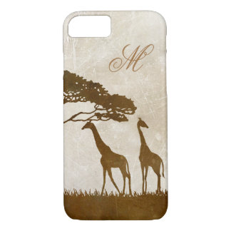 Brown and Ivory African Giraffe Wedding iPhone 8/7 Case