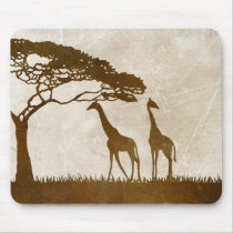 Brown and Ivory African Giraffe Wedding Mouse Pad