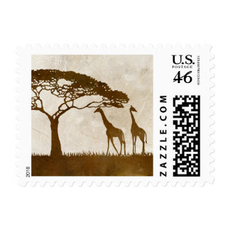 Brown and Ivory African Giraffe Wedding Postage Stamp
