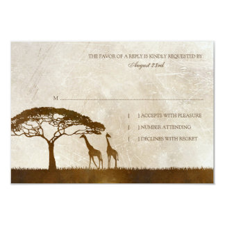 Brown and Ivory African Giraffe Wedding rsvp Custom Announcement