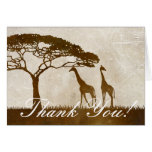 Brown and Ivory African Giraffe Wedding Thank You Greeting Cards
