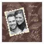 Brown and Ivory Photo Save the Date Card Invitation