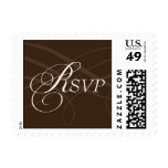 Brown and Ivory Rsvp with Inifinity design Postage