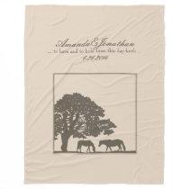 Brown and Ivory Vintage Horse Farm Wedding Fleece Blanket
