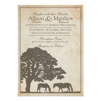 Brown and Ivory Vintage Horse Farm Wedding 5x7 Paper Invitation Card