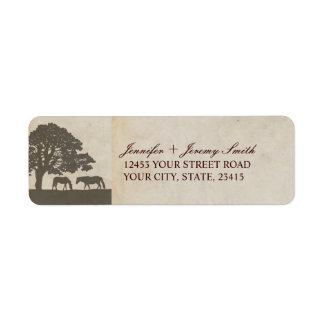 Brown and Ivory Vintage Horse Farm Wedding Custom Return Address Label