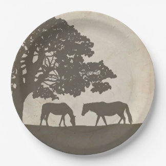 Brown and Ivory Vintage Horse Farm Wedding Paper Plate