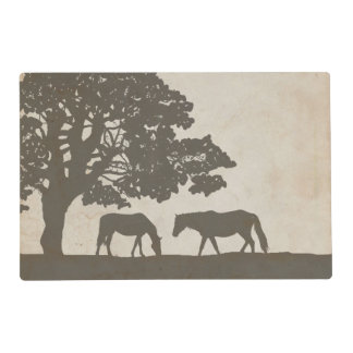 Brown and Ivory Vintage Horse Farm Wedding Placemat
