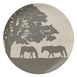 Brown and Ivory Vintage Horse Farm Wedding Plate