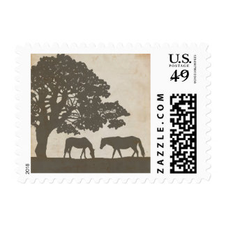 Brown and Ivory Vintage Horse Farm Wedding Postage Stamp