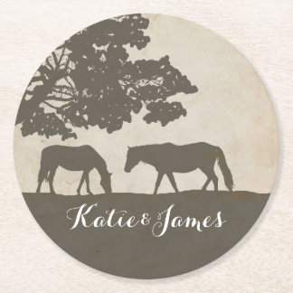 Brown and Ivory Vintage Horse Farm Wedding Round Paper Coaster