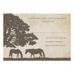 Brown and Ivory Vintage Horse Farm Wedding rsvp Personalized Invitations