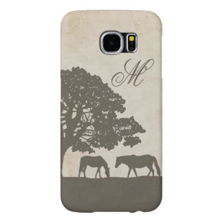 Brown and Ivory Vintage Horse Farm Wedding Samsung Galaxy S6 Case