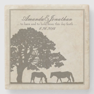 Brown and Ivory Vintage Horse Farm Wedding Stone Coaster