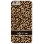 Brown and Leopard Print Custom Monogram Barely There iPhone 6 Plus Case