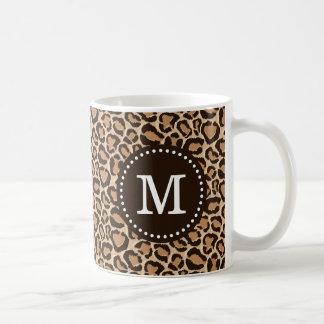 Brown and Leopard Print Custom Monogram Classic White Coffee Mug