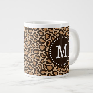 Brown and Leopard Print Custom Monogram Large Coffee Mug