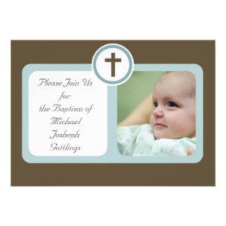 Brown and Light Blue Boy Christening Communion Invitations
